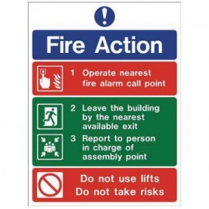 Fire Action Guide 2 Sign