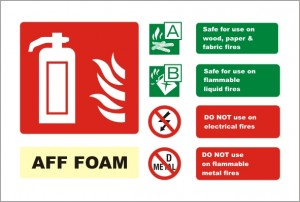 AFF Foam fire alarm sign