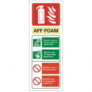 AFF Foam alarm safety sign